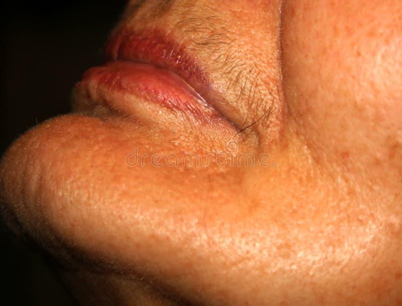 Labbra femminili con i baffi sul labbro superiore Depilazione sul fronte Depilazione fotografie stock libere da diritti
