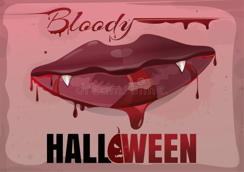 Labbra femminili rosse nel sangue Halloween sanguinante illustrazione vettoriale