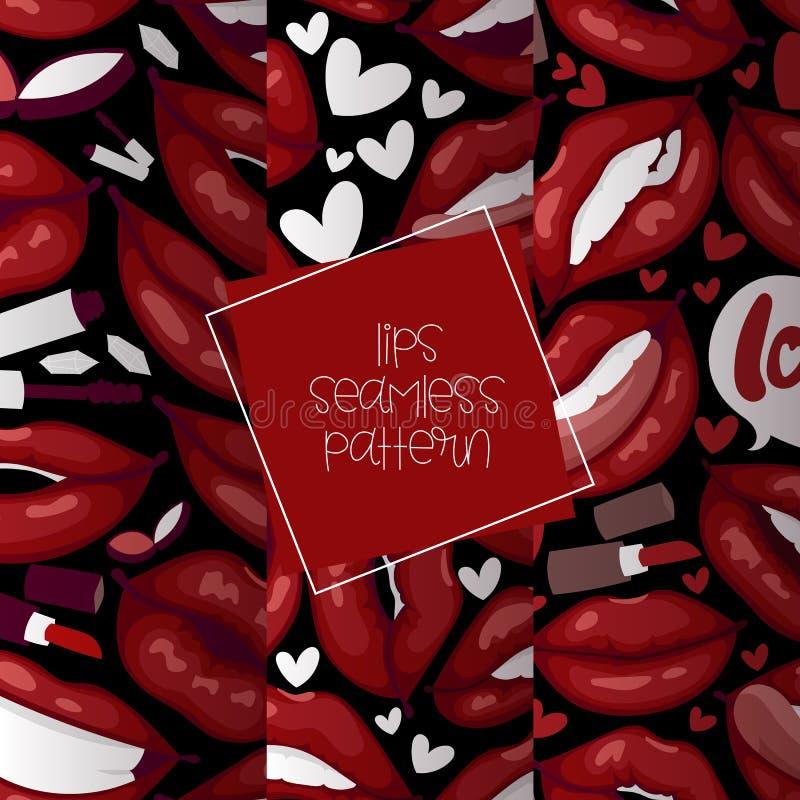 Labbra rosse del fumetto senza cuciture del modello di vettore del labbro belle nel baciare sexy della bocca del rossetto di modo royalty illustrazione gratis