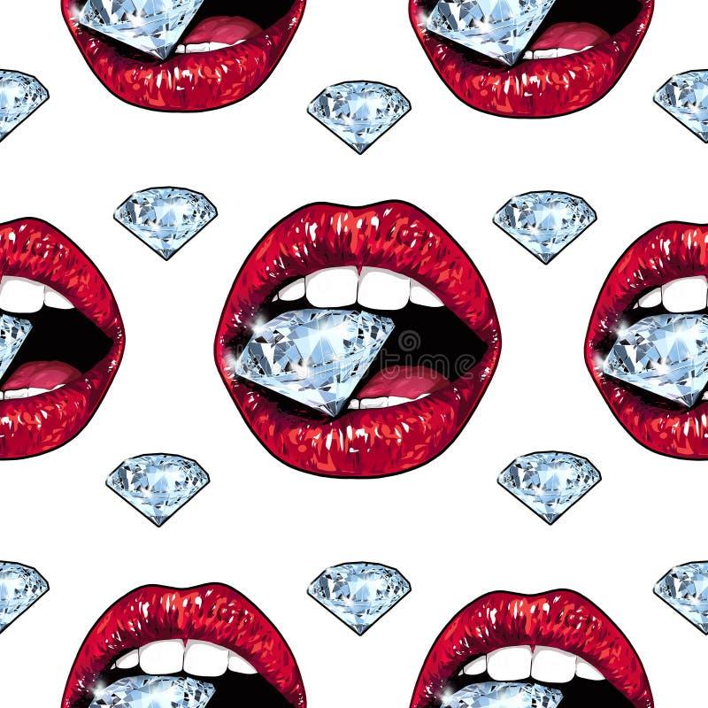 Labbra rosse luminose che giudicano scintillare brillante royalty illustrazione gratis
