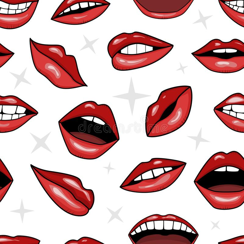 Labbra rosse, sorriso e bocca con i denti nello stile del tatuaggio immagine stock