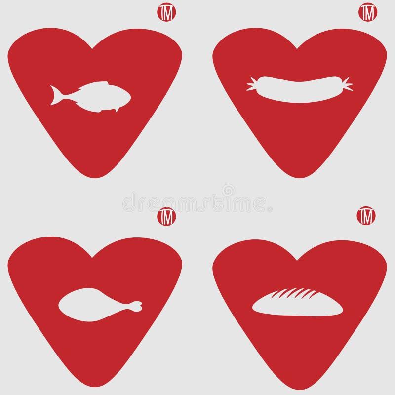 Labbro-cuore con le coscie di pollo, il pesce, il pane e la salsiccia in uno spazio negativo per il logo di alimento illustrazione vettoriale