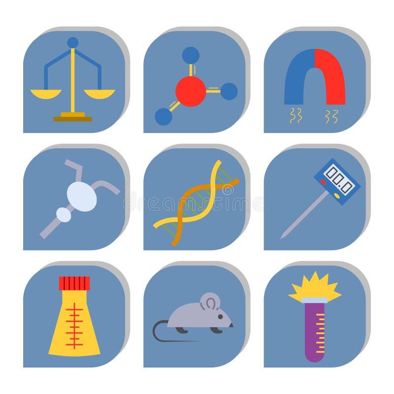 Labbsymboler testar för biologidesign för medicinskt laboratorium vetenskapliga symboler för kemi för vetenskap för bioteknik för stock illustrationer