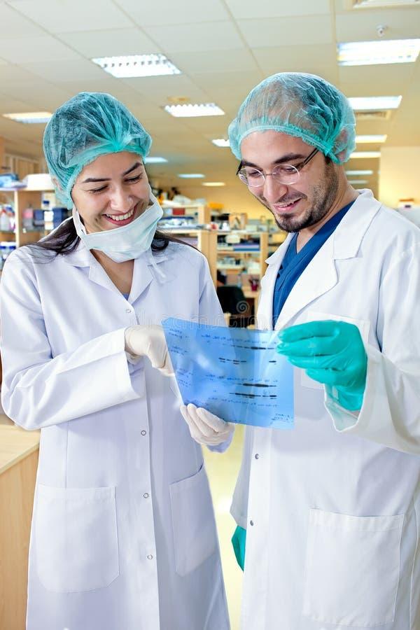 Labbtekniker som ler, som de studerar resultaten. royaltyfri bild