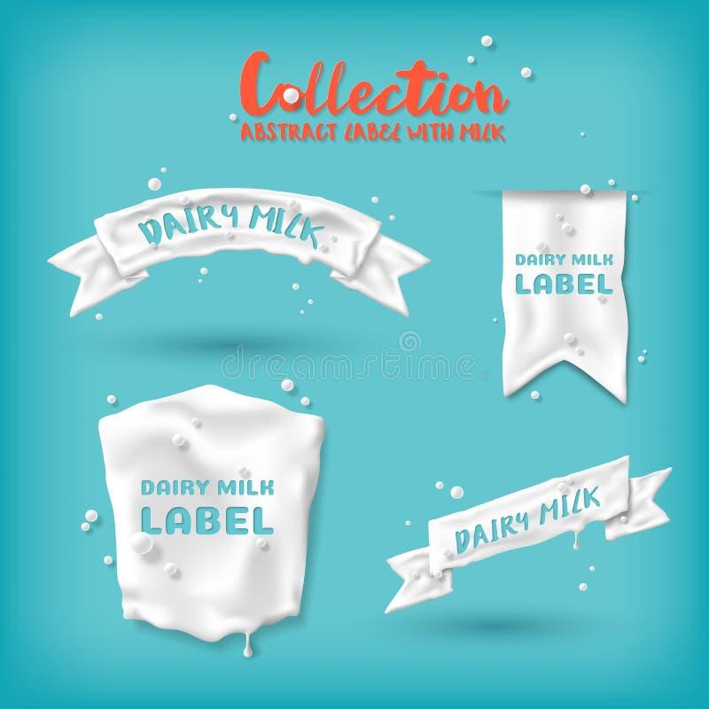 Label abstrait avec du lait pour la conception de la publicité et d'emballage illustration libre de droits
