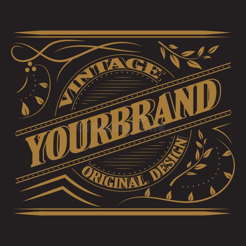 Label antique, conception de cadre de vintage, rétro logo illustration de vecteur