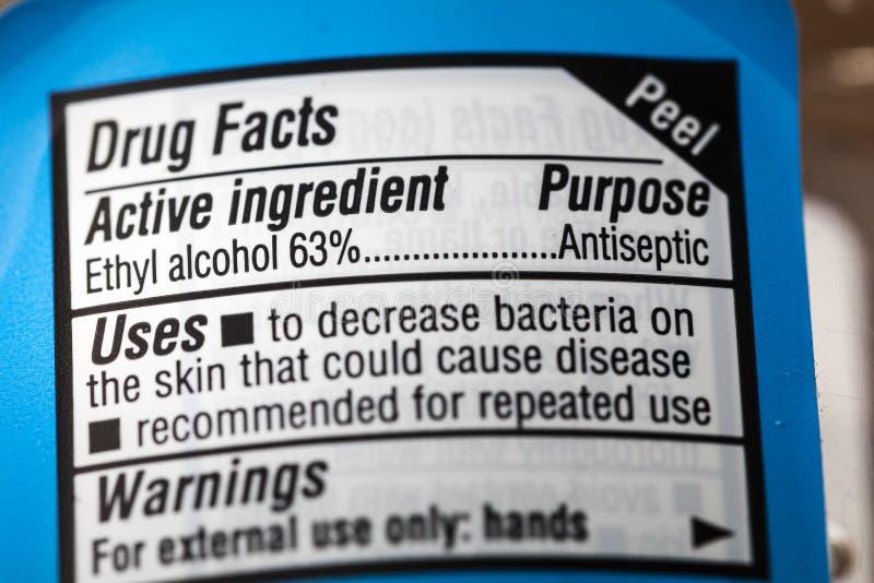Label antiseptique de faits d'avertissement d'alcool éthylique de drogue images stock