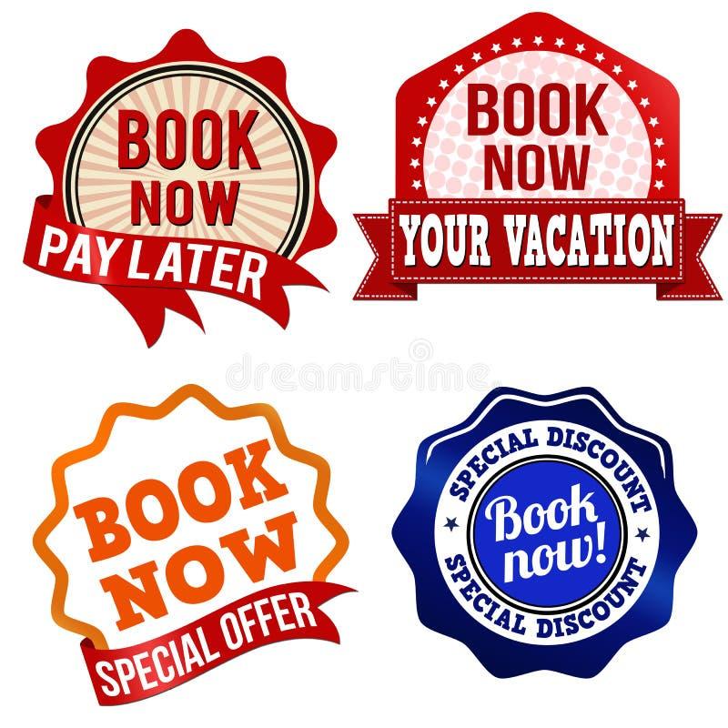 Label, autocollant ou timbres de réservez dès maintenant illustration stock