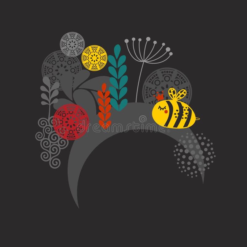 Label avec l'abeille mignonne. illustration de vecteur
