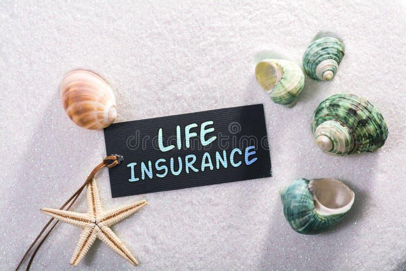 Label avec l'assurance-vie photo stock