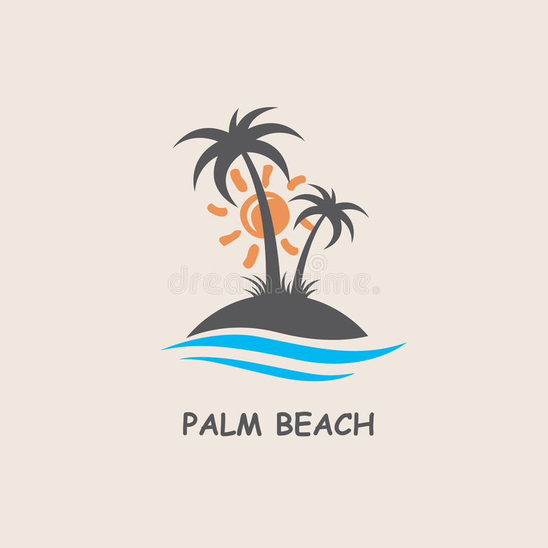 Label avec le palmier illustration libre de droits