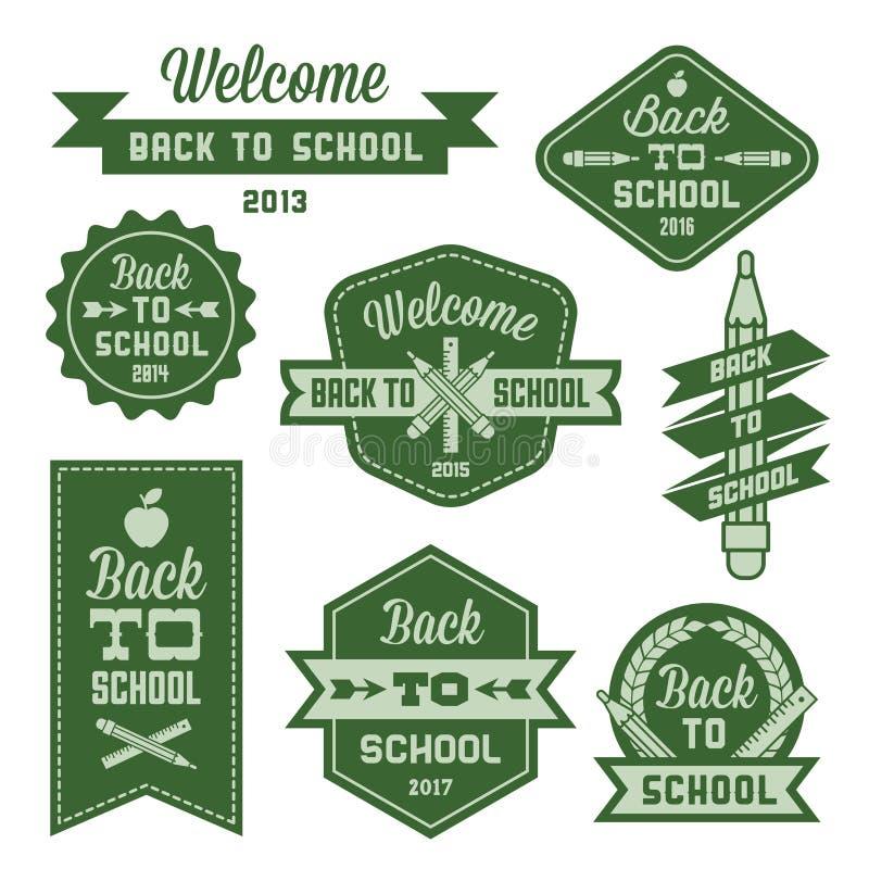 Label back to school. Vintage label welcome back to school royalty free illustration