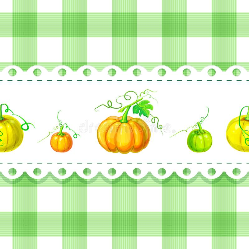 Label or background template with ripe orange pumpkins on chequered backdrop in retro country style for package or product design. Vector seamless plaid stock illustration
