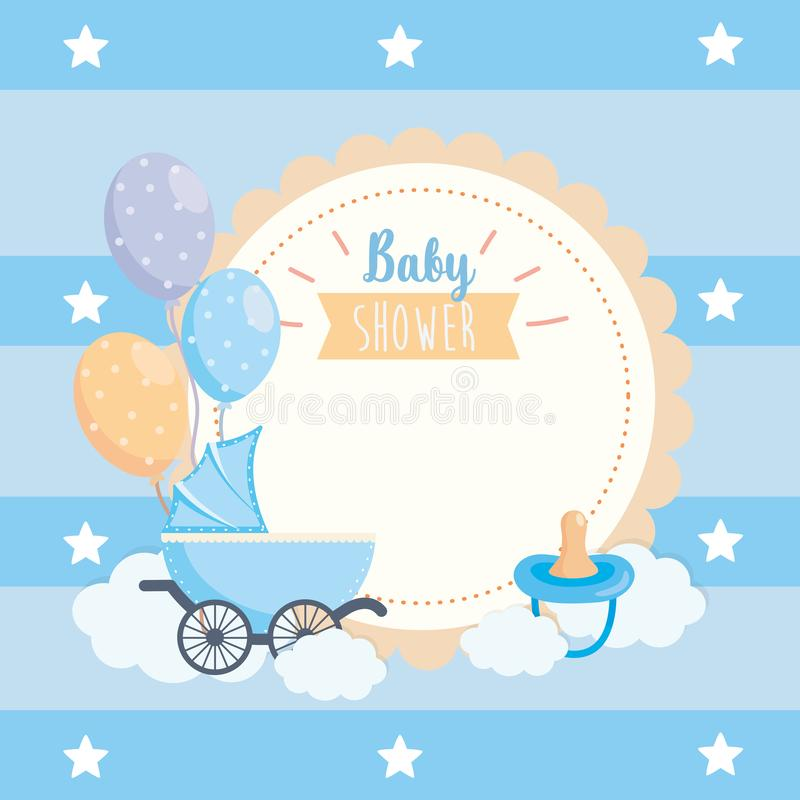 Label of balloons and pacifier with carriage decoration vector illustration