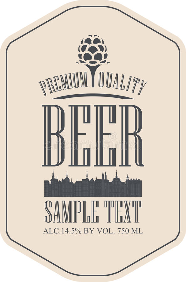 Label beer with the old town. And the malt royalty free illustration