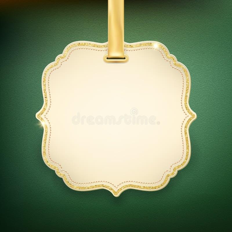 Label beige élégant avec le ruban d'or sur le fond vert ENV 10 illustration stock