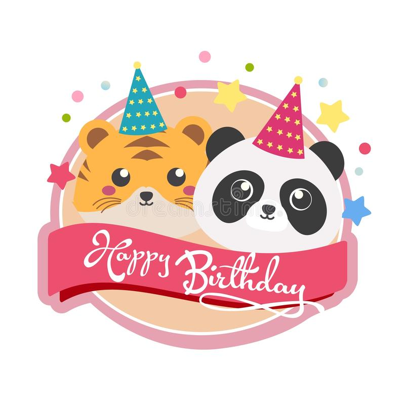 Label of birthday with tiger and panda royalty free illustration
