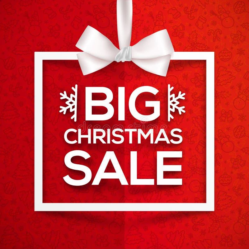 Label blanc de cadre de boîte-cadeau de grande vente de Noël dessus illustration stock