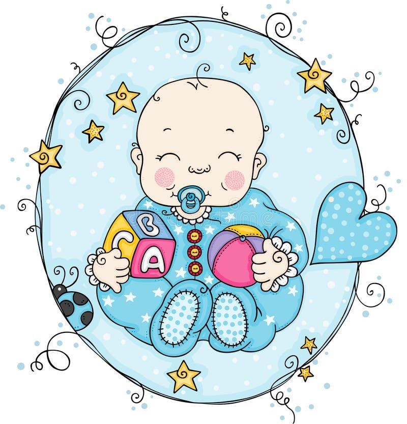 Label bleu avec le bébé garçon illustration stock
