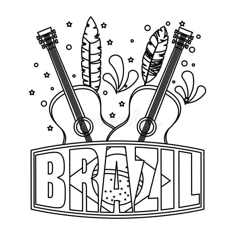 Label brésilien avec le drapeau et les guitares illustration de vecteur