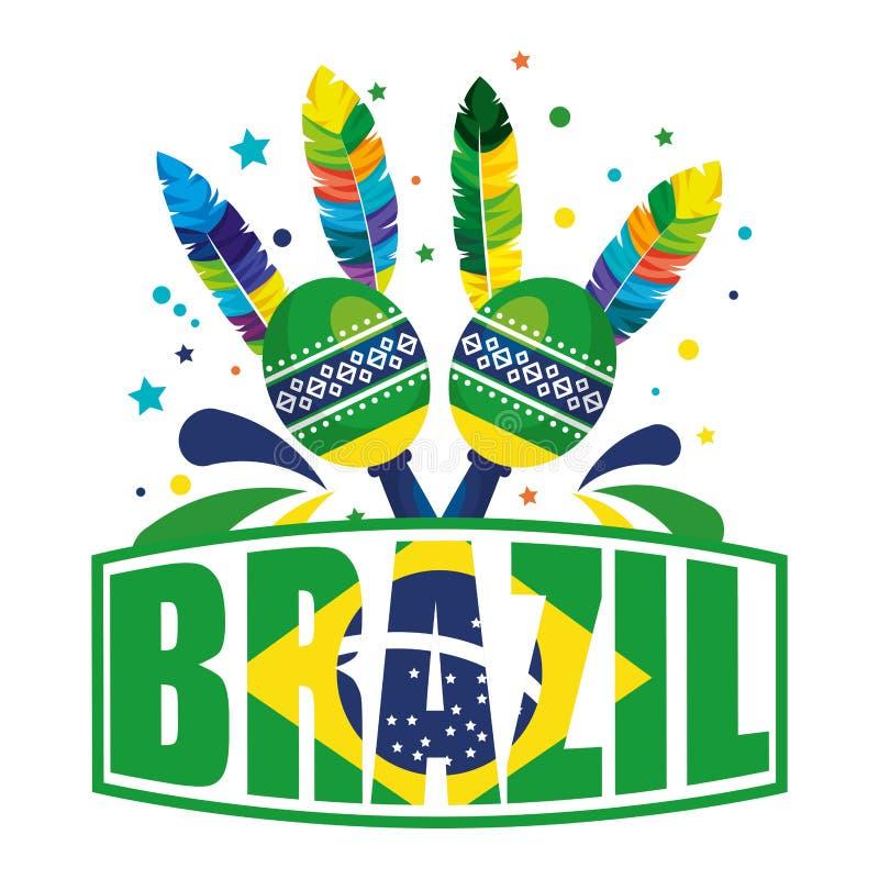 Label brésilien avec le drapeau et les maracas illustration libre de droits