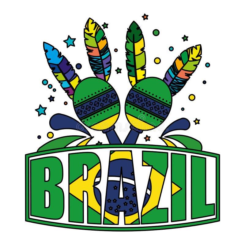 Label brésilien avec le drapeau et les maracas illustration stock