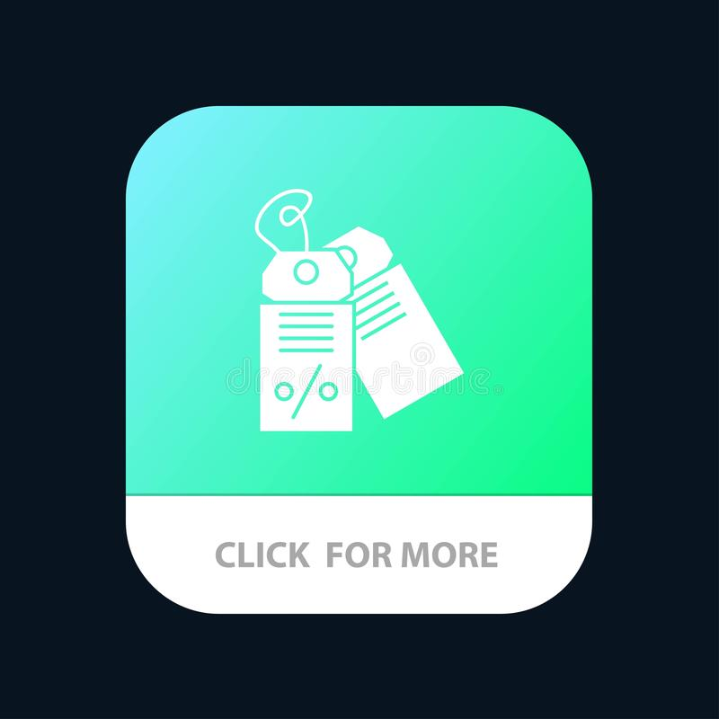 Label, Business, Discount, Sale Mobile App Button. Android and IOS Glyph Version stock illustration