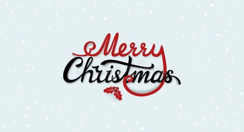 Label calligraphique des textes de Joyeux Noël avec la branche d'ilex avec la baie et les feuilles Insigne d'isolement par typogr illustration de vecteur
