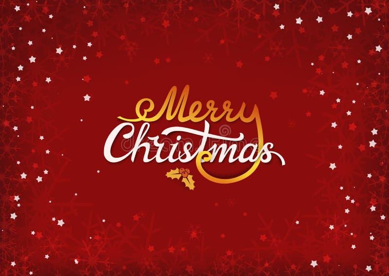 Label calligraphique des textes de Joyeux Noël avec la branche, les baies et les feuilles d'ilex Insigne de typographie de Noël F illustration de vecteur