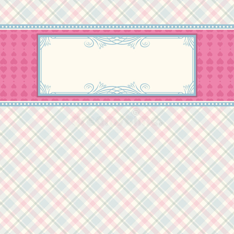 Label on color checked background vector illustration