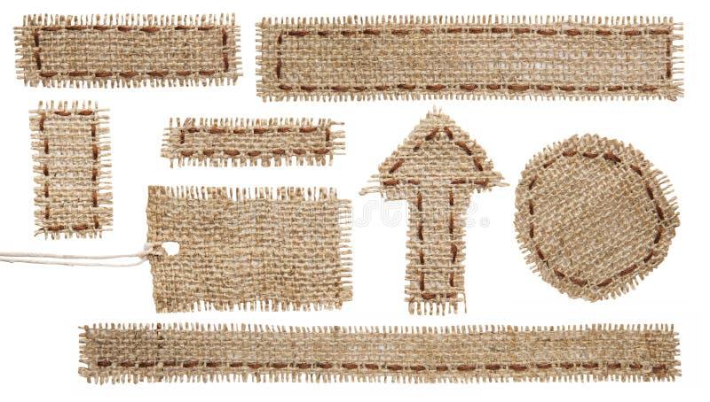 Label d'étiquette de tissu de toile de jute, ruban hessois de correction de tissu, toile à sac photographie stock libre de droits