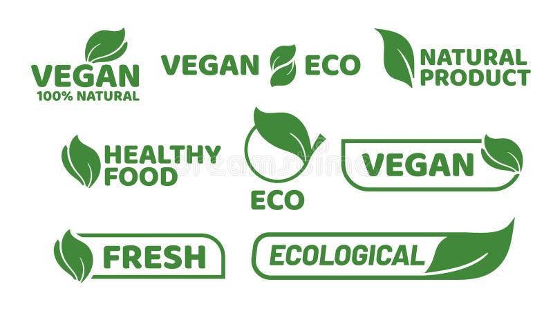 Label d'étiquette de Vegan Le logo d'insigne de Veganism, les produits biologiques végétariens et les insignes d'aliment biologiq illustration stock