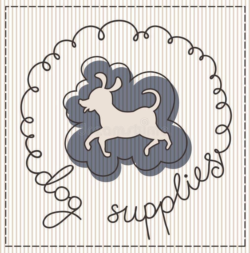 Label d'approvisionnements de chien illustration stock