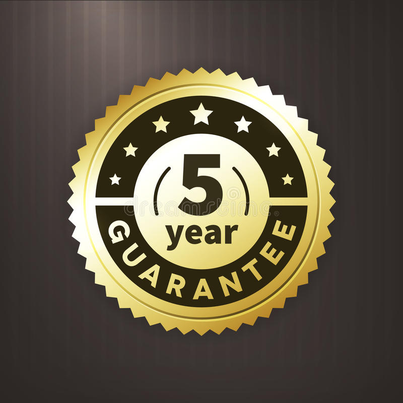 label d'or d'affaires de garantie de 5 ans illustration libre de droits