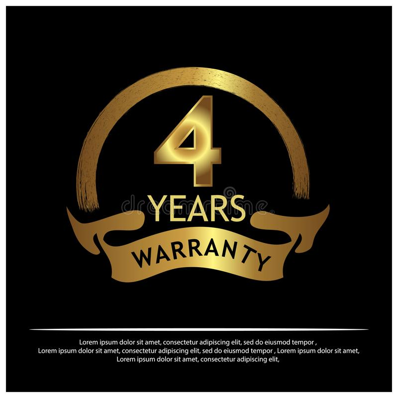 Label d'or de garantie de quatre ans sur le fond blanc - vecteur illustration stock