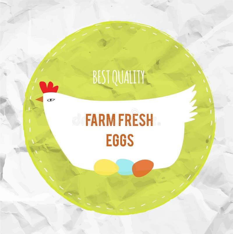 Label d'eco d'agg de fress de ferme avec la poule, illustration graphique illustration libre de droits