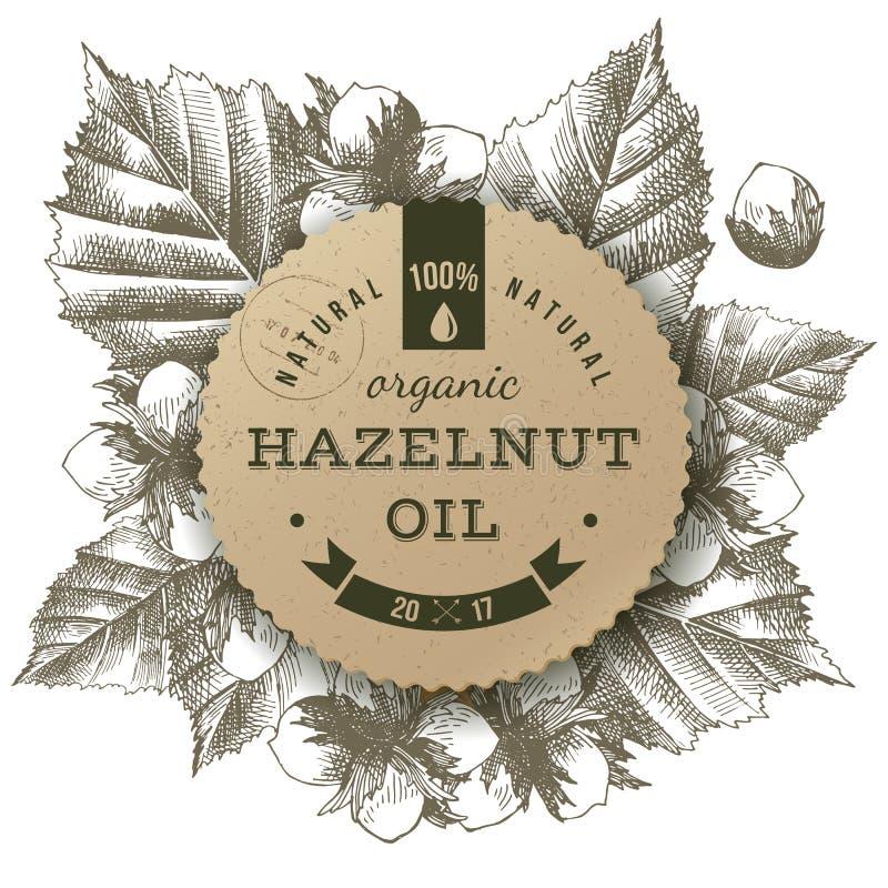 Label d'huile de noisette de vecteur illustration libre de droits