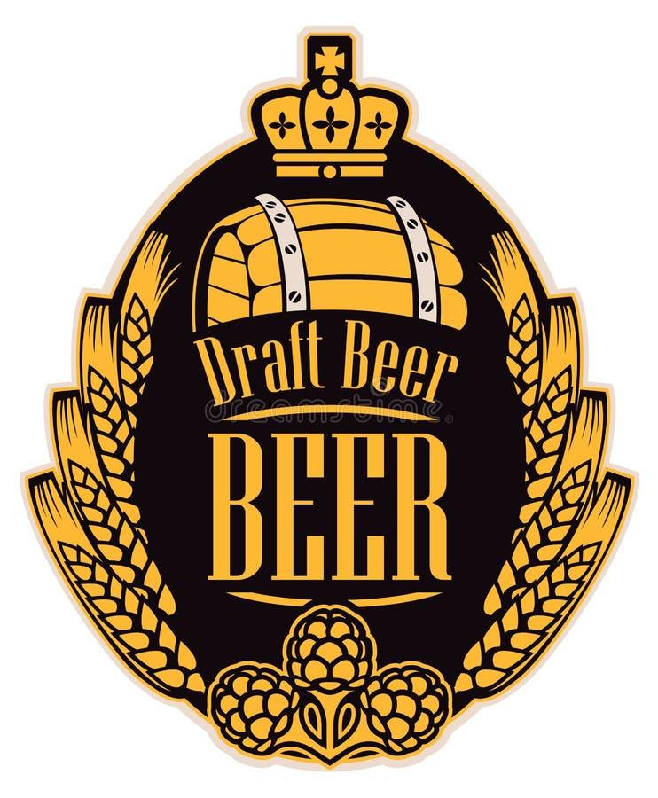 Label de bière avec des oreilles, des houblon, le baril et la couronne de blé illustration de vecteur