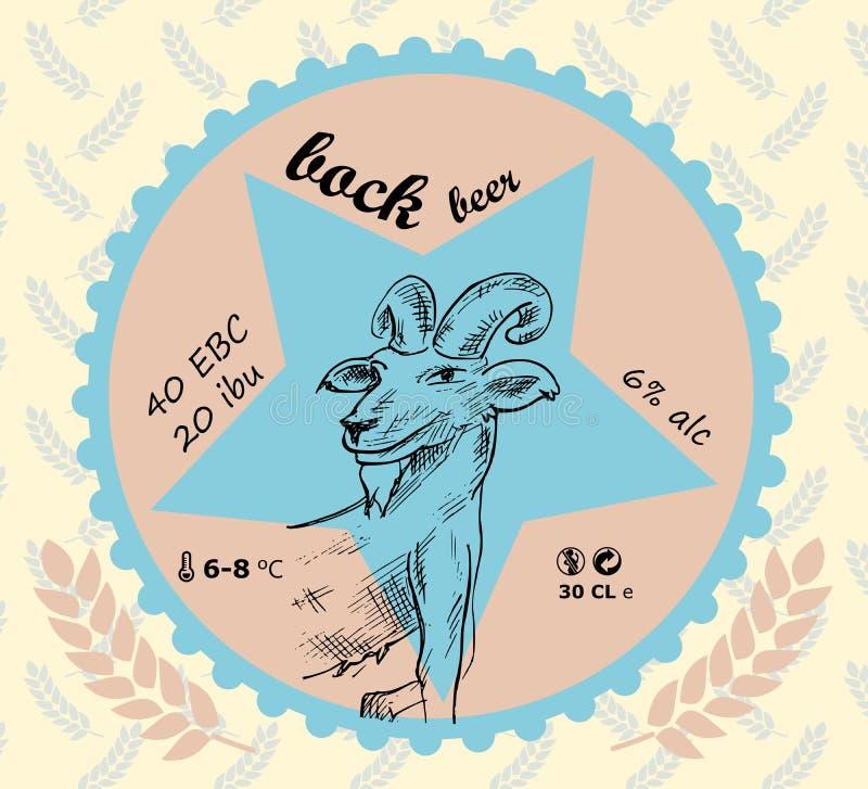 Label de bière brune avec des signes d'une chèvre et de blé illustration libre de droits