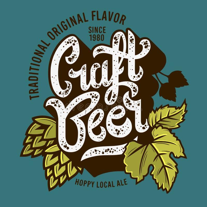 Label de bière de métier avec l'illustration de feuilles et d'houblon Graphique de vecteur illustration de vecteur