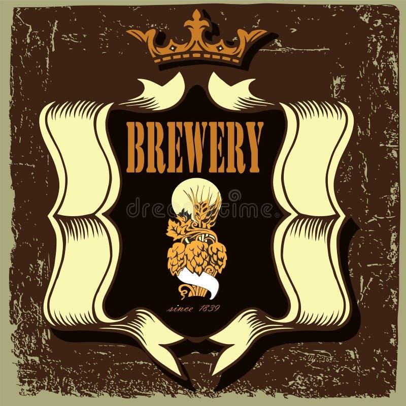 Label de bière pour le restaurant de brasserie avec l'houblon illustration stock