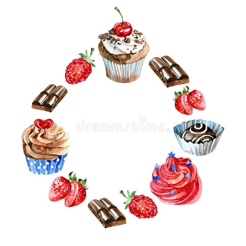 Label de bonbons à aquarelle Fond de carte avec les objets tirés par la main de nourriture : petits gâteaux, chocolat, baie Délai illustration de vecteur
