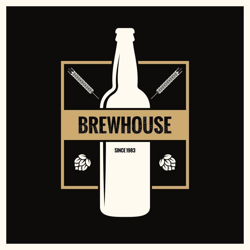 Label de bouteille à bière Logo de vintage de brew sur le fond noir illustration libre de droits