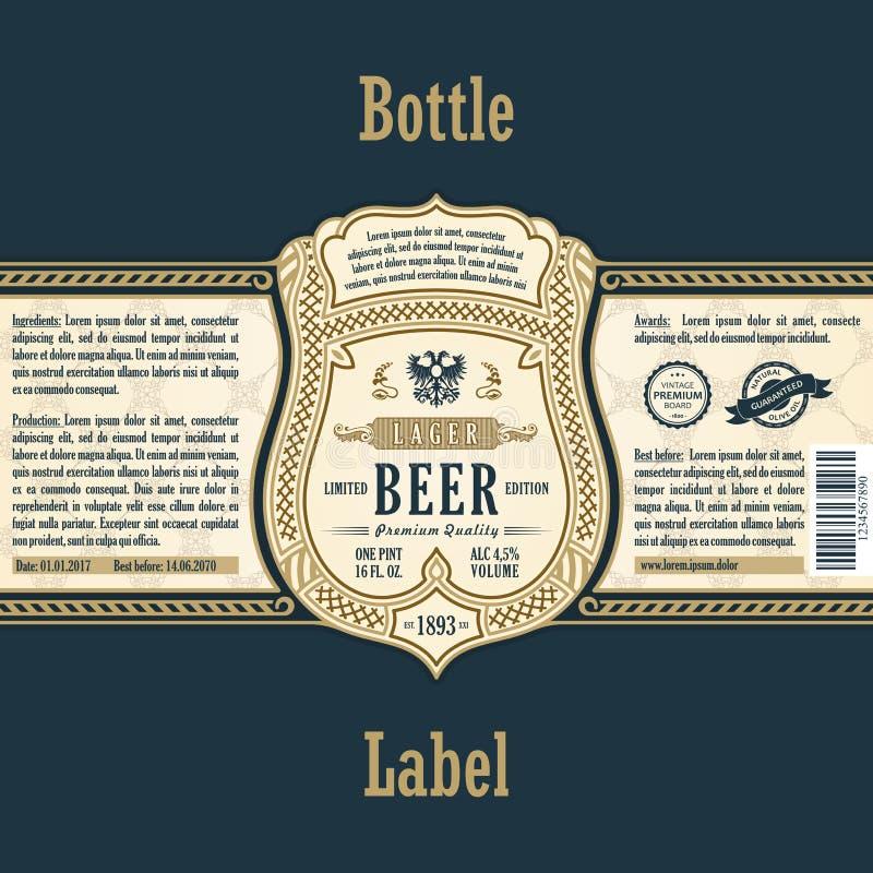 Label de cadre de vintage Bière de bouteille d'autocollant d'or illustration libre de droits