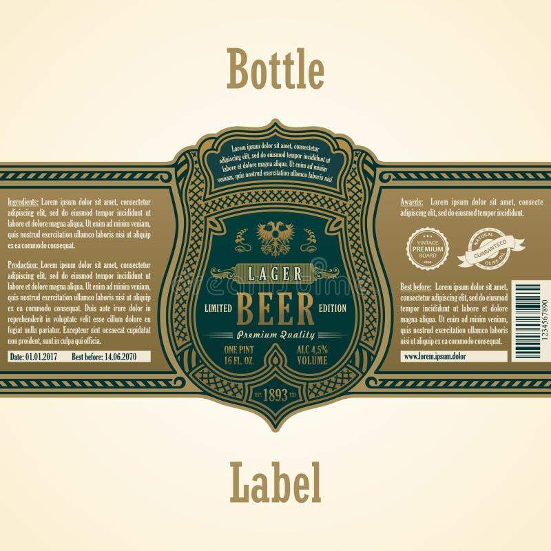 Label de cadre de vintage Bière de bouteille d'autocollant d'or illustration stock
