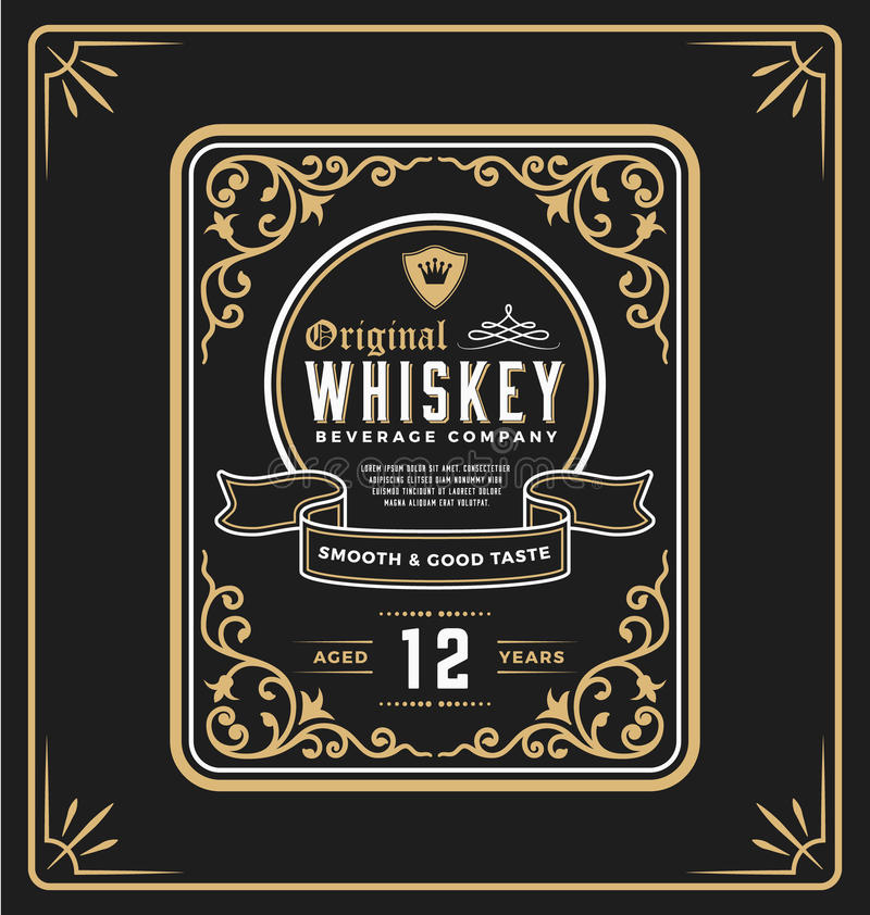 Label de cadre de vintage pour la boisson de whiskey et illustration stock