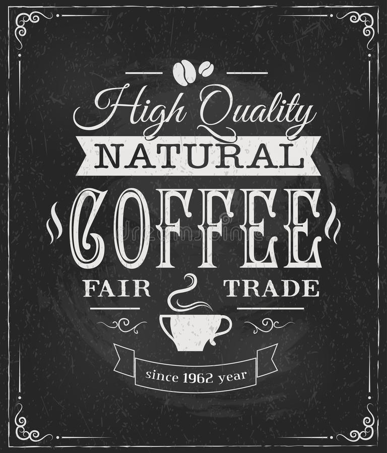 Label de café sur le tableau illustration stock