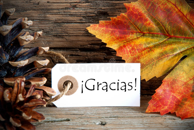 Label de chute avec Gracias photo stock