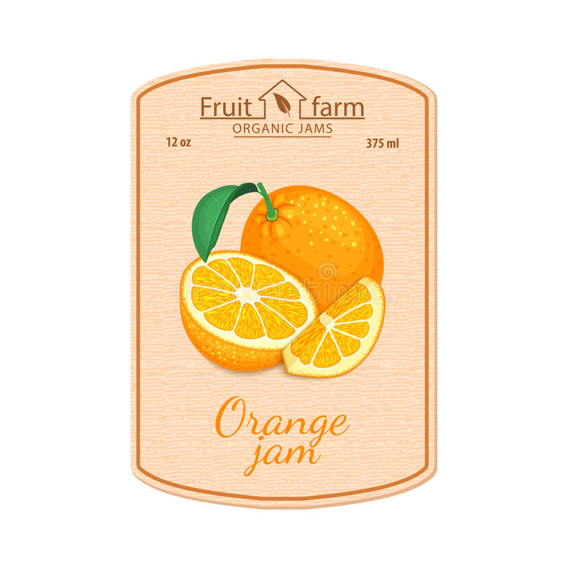 Label de confiture d'oranges de vecteur Composition des fruits oranges tropicaux Conception d'un autocollant pour un pot avec la  illustration libre de droits