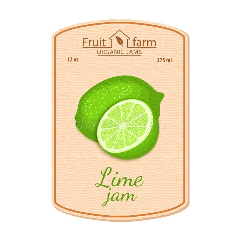 Label de confiture de chaux de vecteur Composition des fruits verts tropicaux de citron Conception d'un autocollant pour un pot a illustration stock